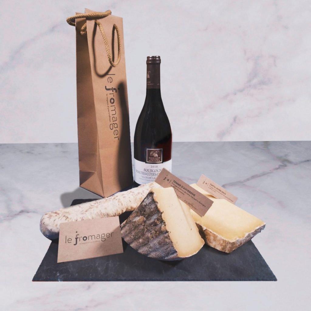Box apéro formage charcuterie vin rouge Jo le fromager à Rennes